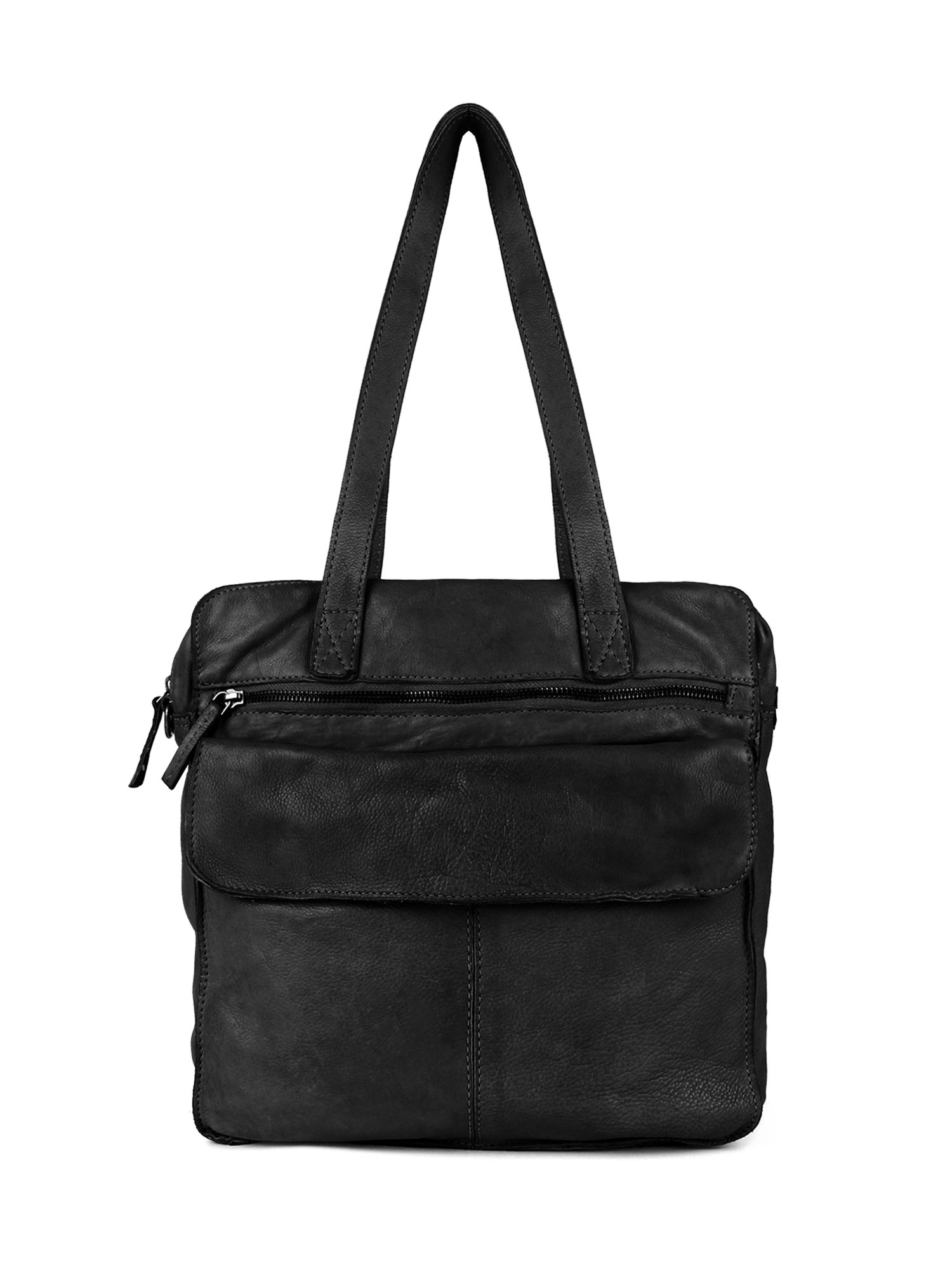 Dstrct Harrington Road leren shopper-zwart/laptop